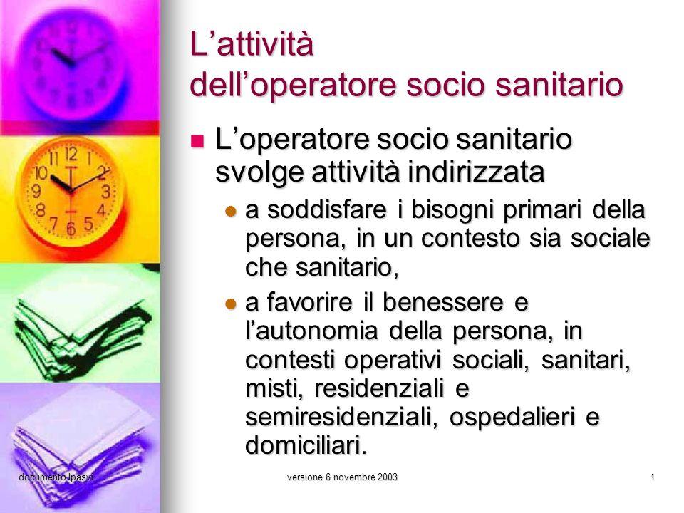 documento Ipasviversione 6 novembre 20031 Lattività delloperatore socio sanitario Loperatore socio sanitario svolge attività indirizzata Loperatore so