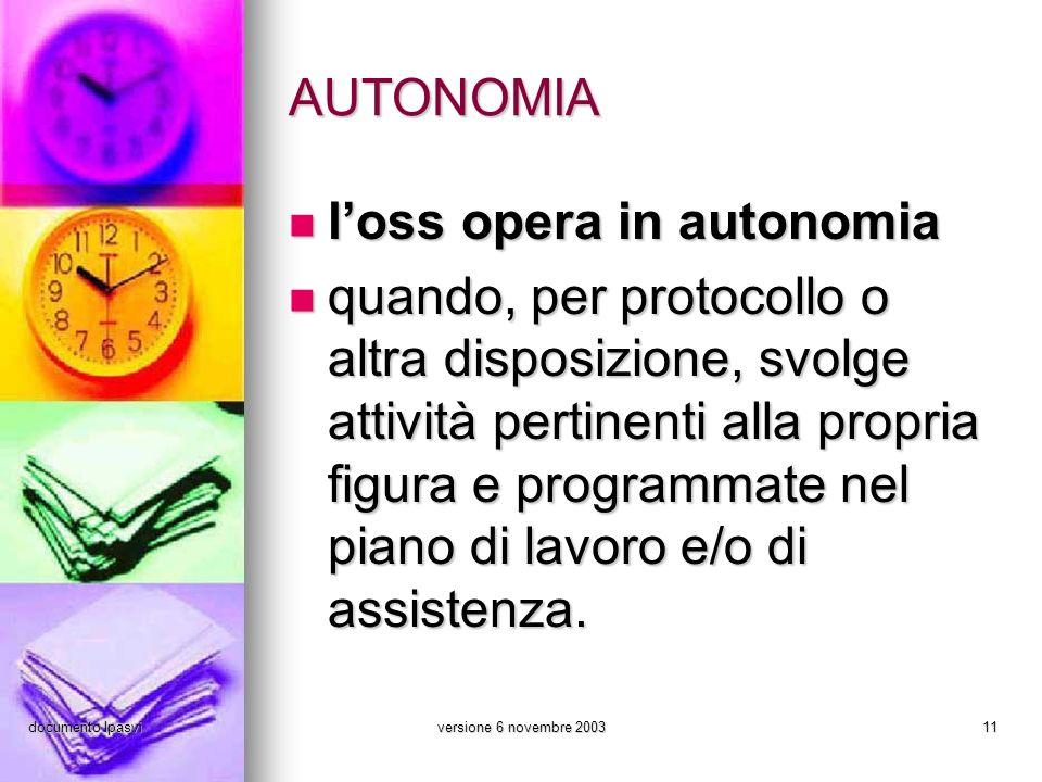 documento Ipasviversione 6 novembre 200311 AUTONOMIA loss opera in autonomia loss opera in autonomia quando, per protocollo o altra disposizione, svol