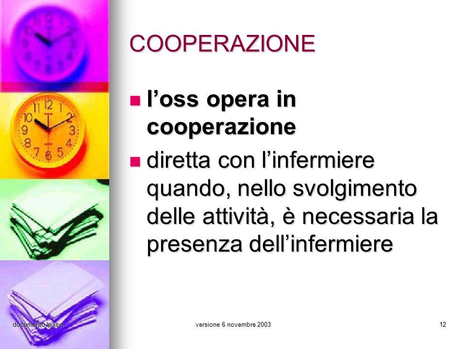 documento Ipasviversione 6 novembre 200312 COOPERAZIONE loss opera in cooperazione loss opera in cooperazione diretta con linfermiere quando, nello sv