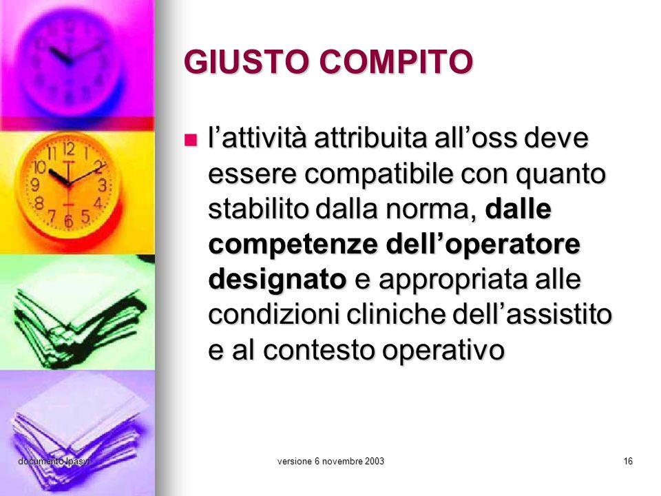 documento Ipasviversione 6 novembre 200316 GIUSTO COMPITO lattività attribuita alloss deve essere compatibile con quanto stabilito dalla norma, dalle