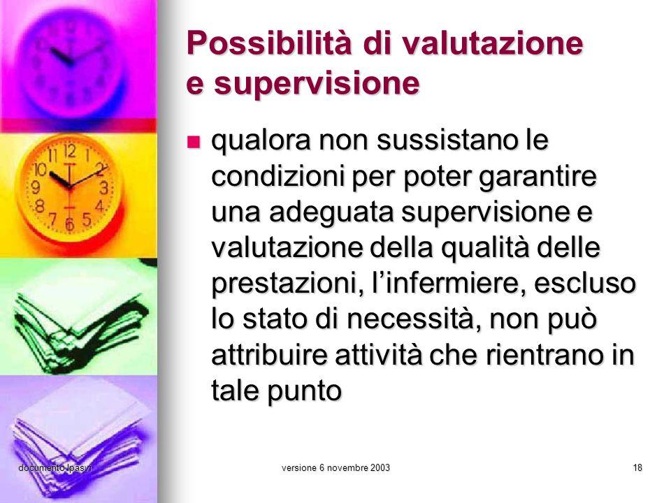 documento Ipasviversione 6 novembre 200318 Possibilità di valutazione e supervisione qualora non sussistano le condizioni per poter garantire una adeg