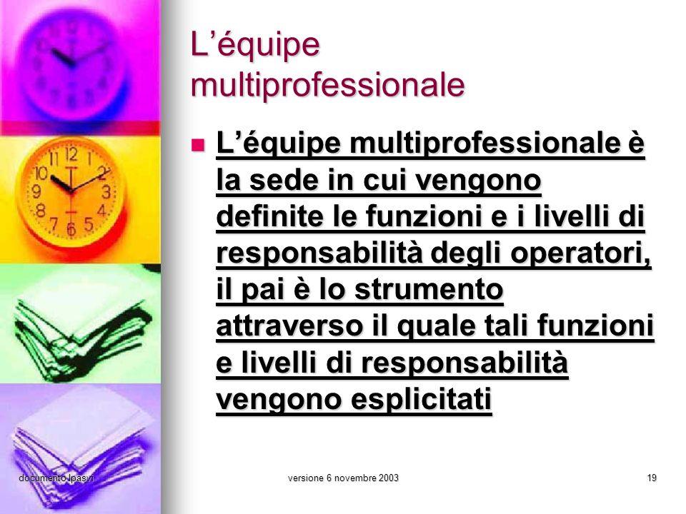 documento Ipasviversione 6 novembre 200319 Léquipe multiprofessionale Léquipe multiprofessionale è la sede in cui vengono definite le funzioni e i liv