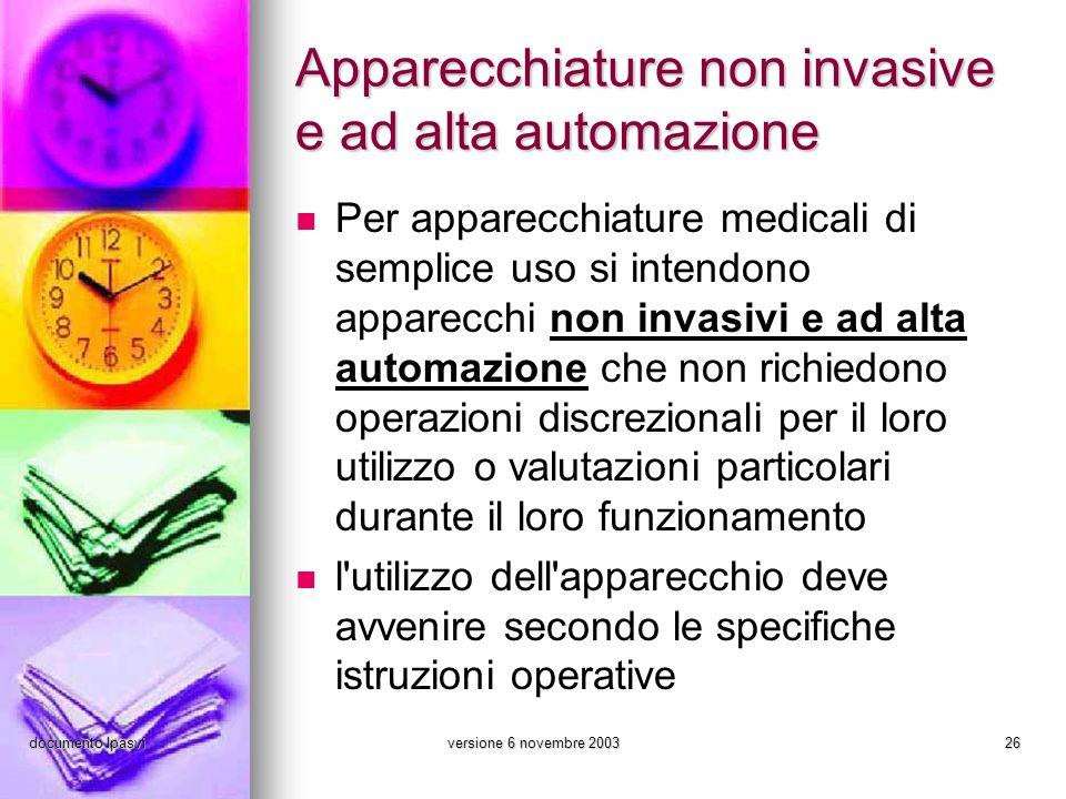 documento Ipasviversione 6 novembre 200326 Apparecchiature non invasive e ad alta automazione Per apparecchiature medicali di semplice uso si intendon
