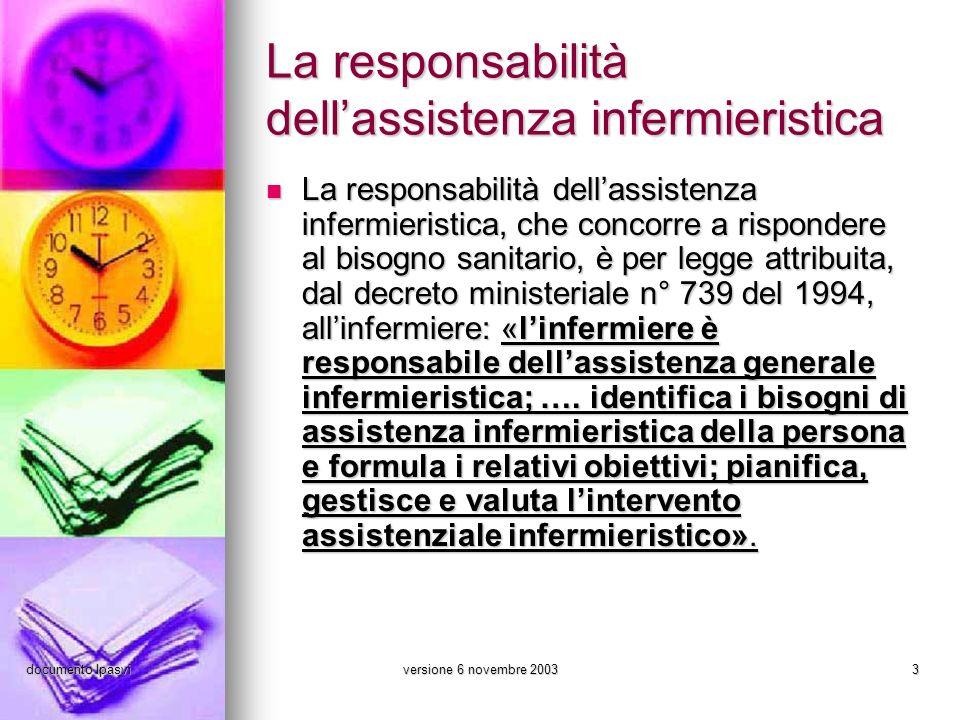 documento Ipasviversione 6 novembre 20033 La responsabilità dellassistenza infermieristica La responsabilità dellassistenza infermieristica, che conco