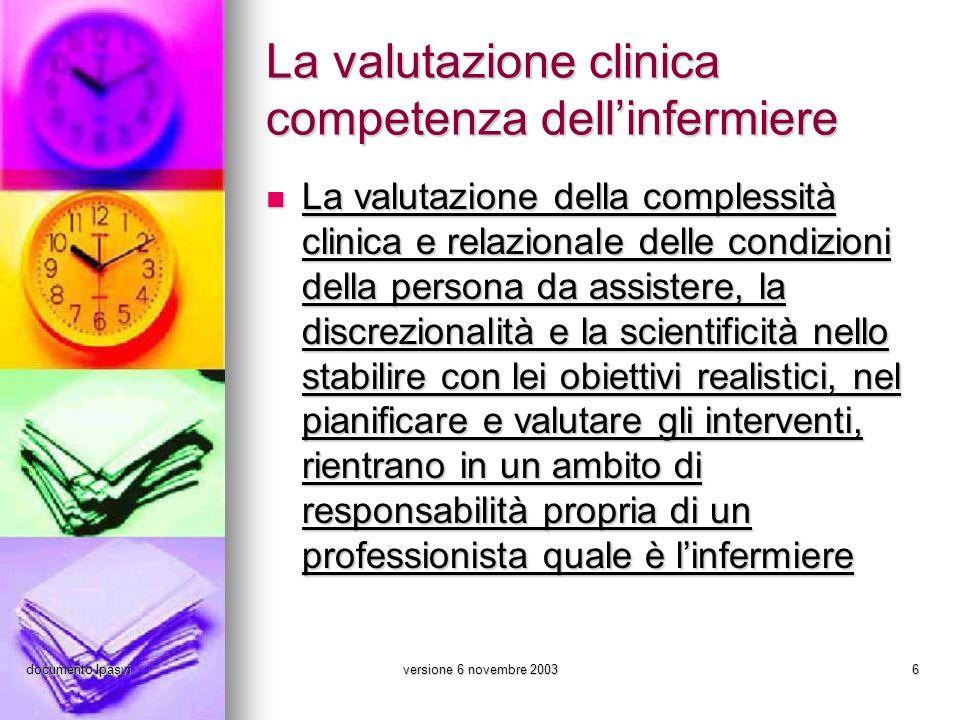 documento Ipasviversione 6 novembre 20036 La valutazione clinica competenza dellinfermiere La valutazione della complessità clinica e relazionale dell
