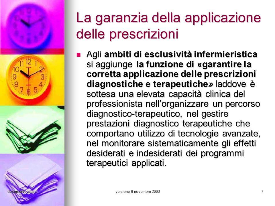 documento Ipasviversione 6 novembre 20037 La garanzia della applicazione delle prescrizioni Agli ambiti di esclusività infermieristica si aggiunge la