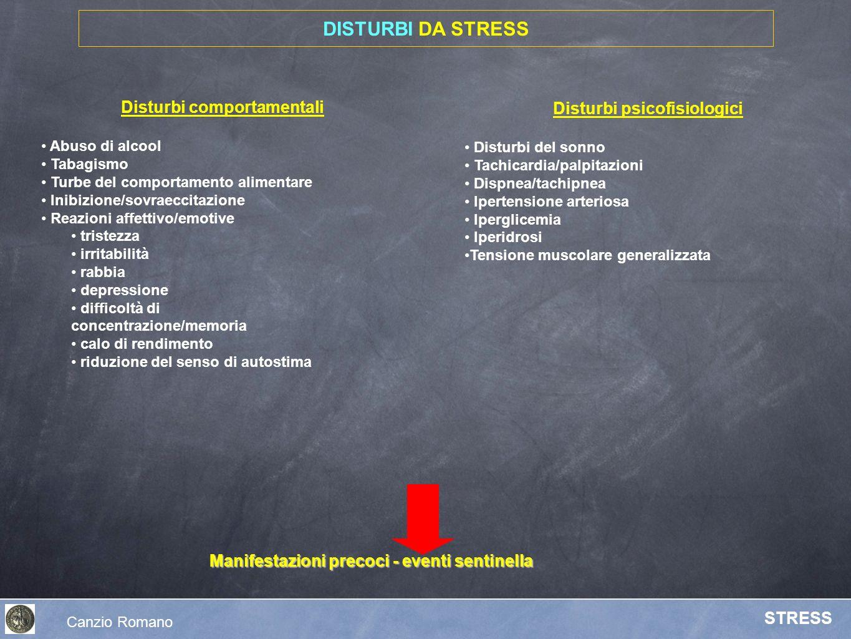 Canzio Romano STRESS Disturbi psicofisiologici Disturbi del sonno Tachicardia/palpitazioni Dispnea/tachipnea Ipertensione arteriosa Iperglicemia Iperi