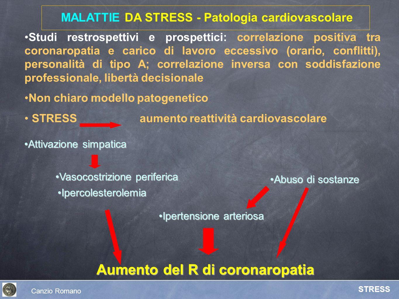 MALATTIE DA STRESS - Patologia cardiovascolare Attivazione simpaticaAttivazione simpatica Studi restrospettivi e prospettici: correlazione positiva tr