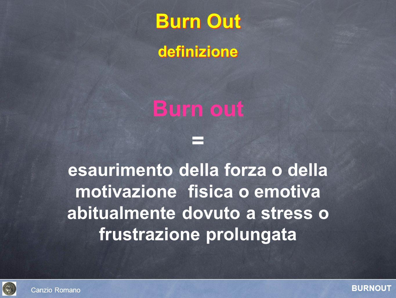 Burn out = esaurimento della forza o della motivazione fisica o emotiva abitualmente dovuto a stress o frustrazione prolungata Burn Out definizione Bu