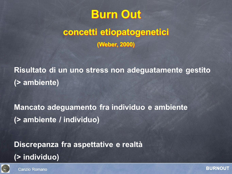 Risultato di un uno stress non adeguatamente gestito (> ambiente) Mancato adeguamento fra individuo e ambiente (> ambiente / individuo) Discrepanza fr