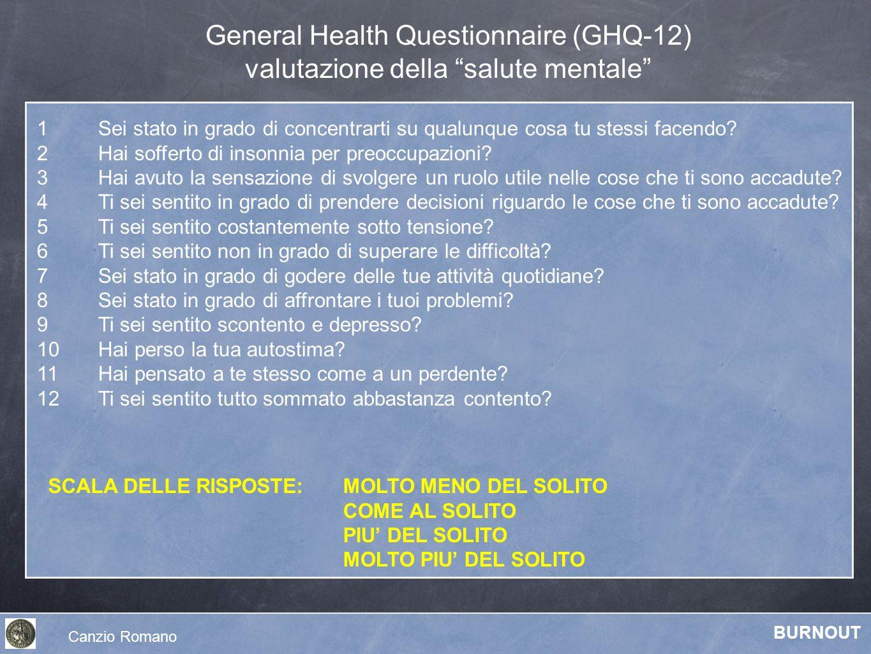 General Health Questionnaire (GHQ-12) valutazione della salute mentale 1 Sei stato in grado di concentrarti su qualunque cosa tu stessi facendo? 2 Hai