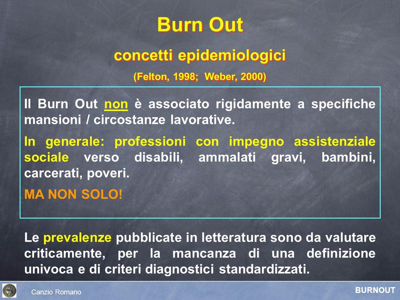 Il Burn Out non è associato rigidamente a specifiche mansioni / circostanze lavorative. In generale: professioni con impegno assistenziale sociale ver