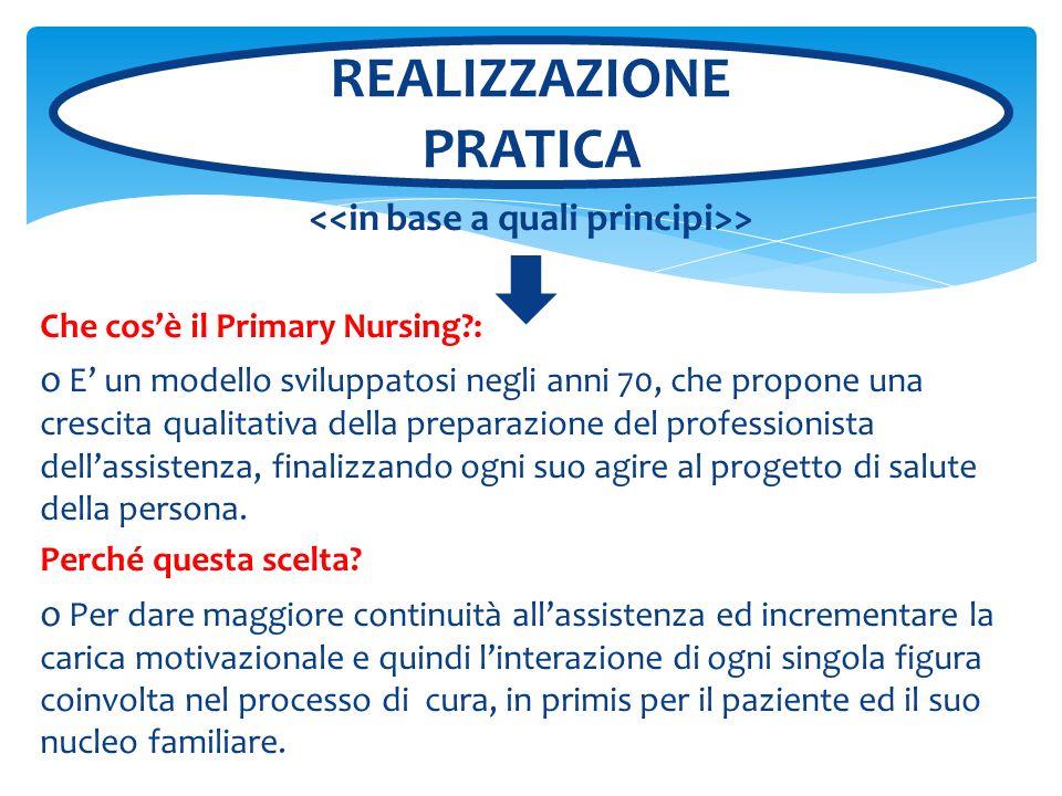 > Che cosè il Primary Nursing?: o E un modello sviluppatosi negli anni 70, che propone una crescita qualitativa della preparazione del professionista