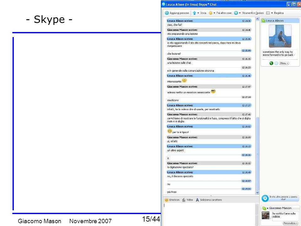 15/44 Novembre 2007Giacomo Mason Chat e comunicazione sincrona - Skype -