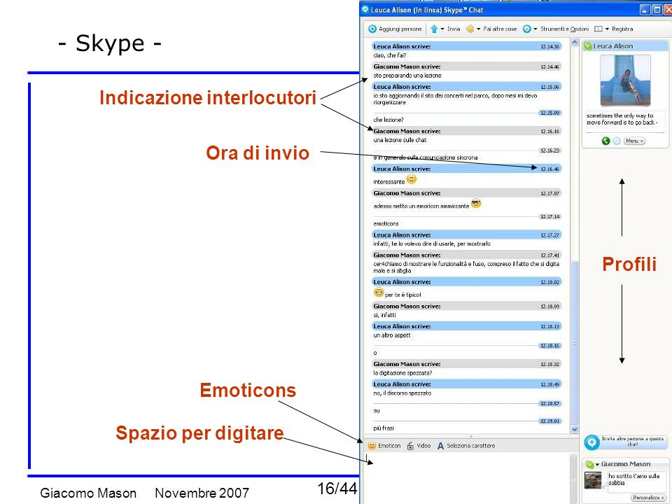 16/44 Novembre 2007Giacomo Mason Chat e comunicazione sincrona - Skype - Indicazione interlocutori Spazio per digitare Emoticons Ora di invio Profili