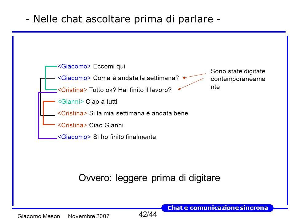 42/44 Novembre 2007Giacomo Mason Chat e comunicazione sincrona - Nelle chat ascoltare prima di parlare - Eccomi qui Come è andata la settimana.