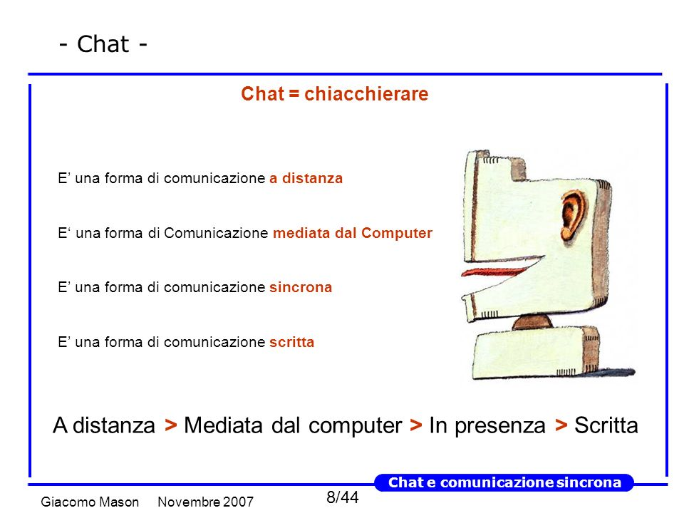 8/44 Novembre 2007Giacomo Mason Chat e comunicazione sincrona - Chat - Chat = chiacchierare E una forma di comunicazione a distanza E una forma di Comunicazione mediata dal Computer E una forma di comunicazione sincrona E una forma di comunicazione scritta A distanza > Mediata dal computer > In presenza > Scritta