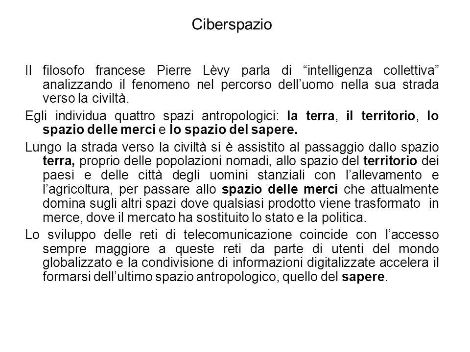 Ciberspazio Il filosofo francese Pierre Lèvy parla di intelligenza collettiva analizzando il fenomeno nel percorso delluomo nella sua strada verso la civiltà.