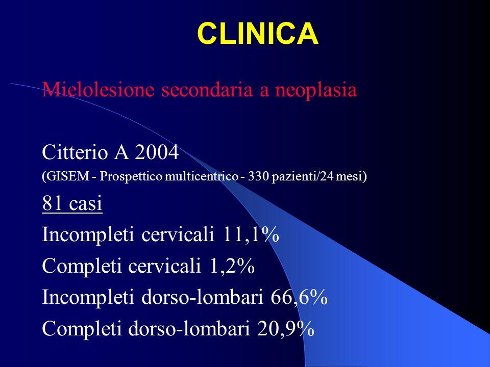 CLINICA Mielolesione secondaria a neoplasia Citterio A 2004 (GISEM - Prospettico multicentrico - 330 pazienti/24 mesi) 81 casi Incompleti cervicali 11