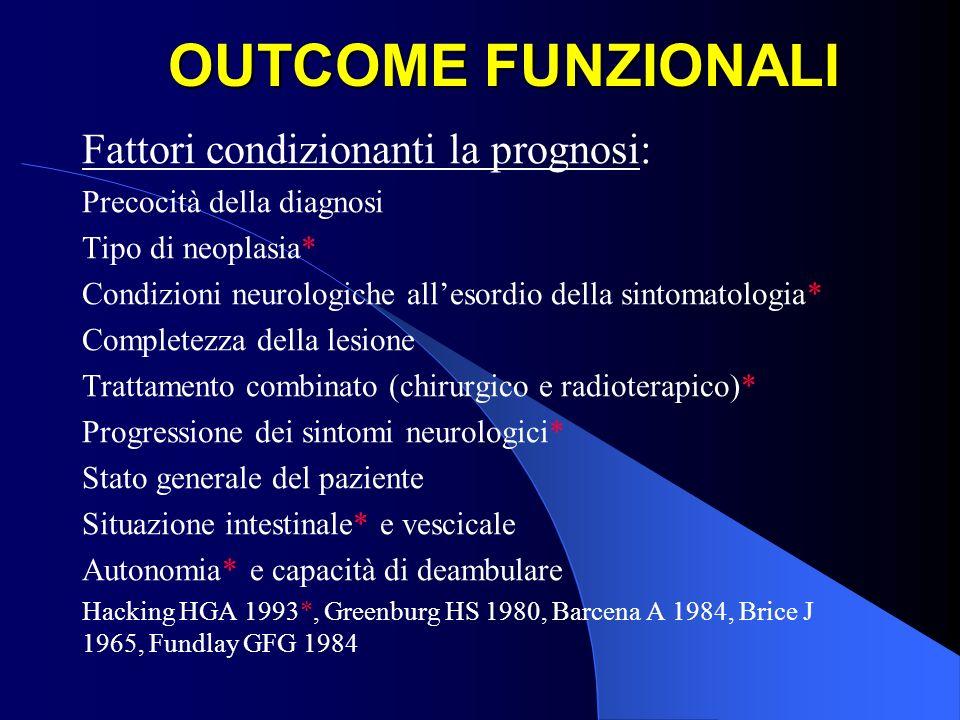 OUTCOME FUNZIONALI Fattori condizionanti la prognosi: Precocità della diagnosi Tipo di neoplasia* Condizioni neurologiche allesordio della sintomatolo