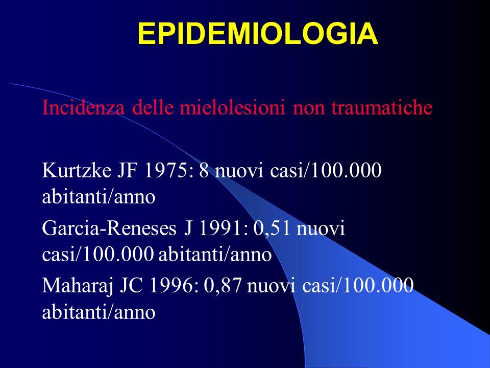 EPIDEMIOLOGIA Rapporto mielolesioni non traumatiche/traumatiche Guttman L 1973: 30% Buchau A 1972: 80% Watson N 1981: 30% Vari Autori 1990-1999: dal 20% al 52% Celani MG 2001: 26,1% Caldana L 1998: 42,8%