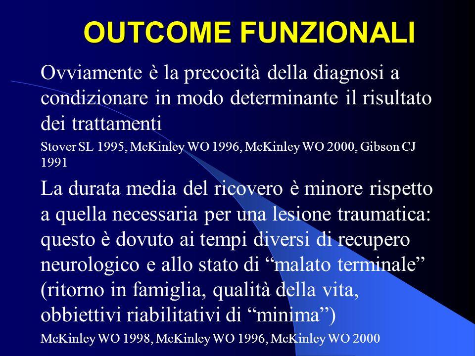 OUTCOME FUNZIONALI Ovviamente è la precocità della diagnosi a condizionare in modo determinante il risultato dei trattamenti Stover SL 1995, McKinley