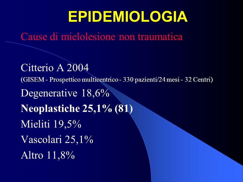 OUTCOME FUNZIONALI Esiste una comune tendenza a non riabilitare questi pazienti in quanto laspettativa di vita è molto ridotta Pazienti con compressione midollare secondaria a metastasi hanno una aspettativa di vita da 2 a 16 mesi dopo dopo il trattamento Mortalità a 1 anno > 80%, anche se sono segnalati rari casi di sopravvivenza fino a 4 e 9 anni Helweg-Larsen S 1996, Kim R 1990, Leviov M 1993, Maranzano E 1995, Sundaresan N 1995