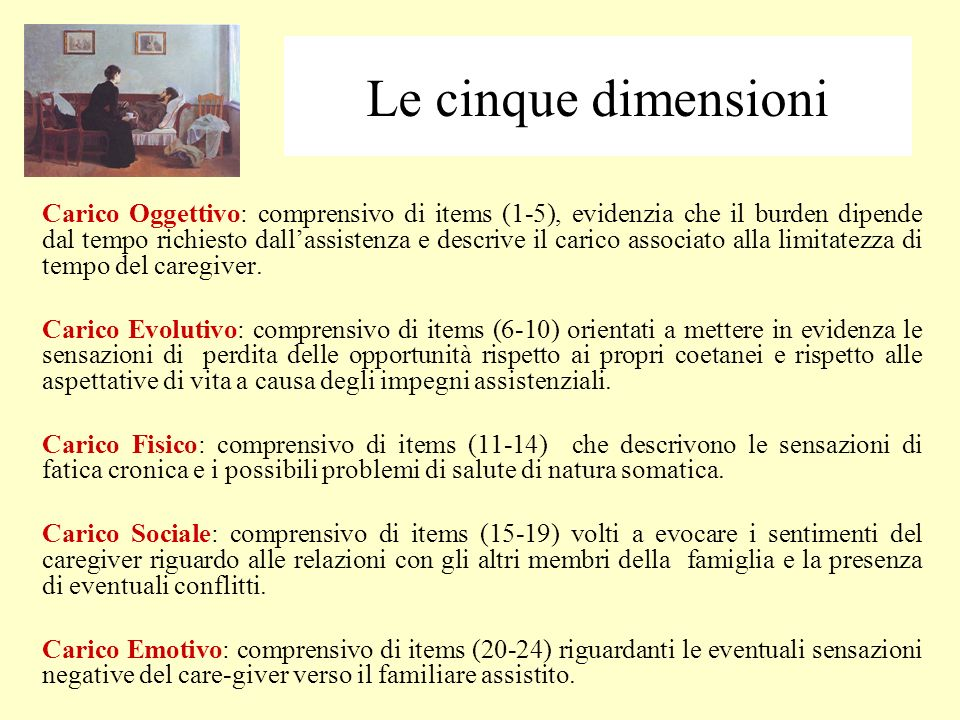 Carico Oggettivo: comprensivo di items (1-5), evidenzia che il burden dipende dal tempo richiesto dallassistenza e descrive il carico associato alla limitatezza di tempo del caregiver.