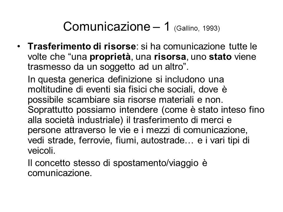 Comunicazione – 1 (Gallino, 1993) Trasferimento di risorse: si ha comunicazione tutte le volte che una proprietà, una risorsa, uno stato viene trasmes