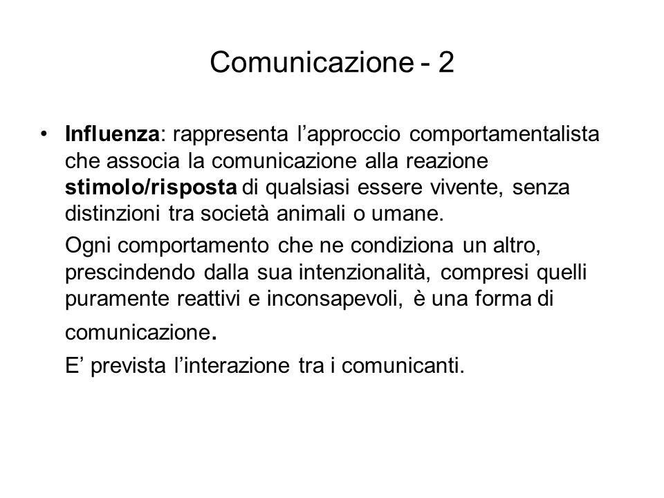 Comunicazione - 2 Influenza: rappresenta lapproccio comportamentalista che associa la comunicazione alla reazione stimolo/risposta di qualsiasi essere