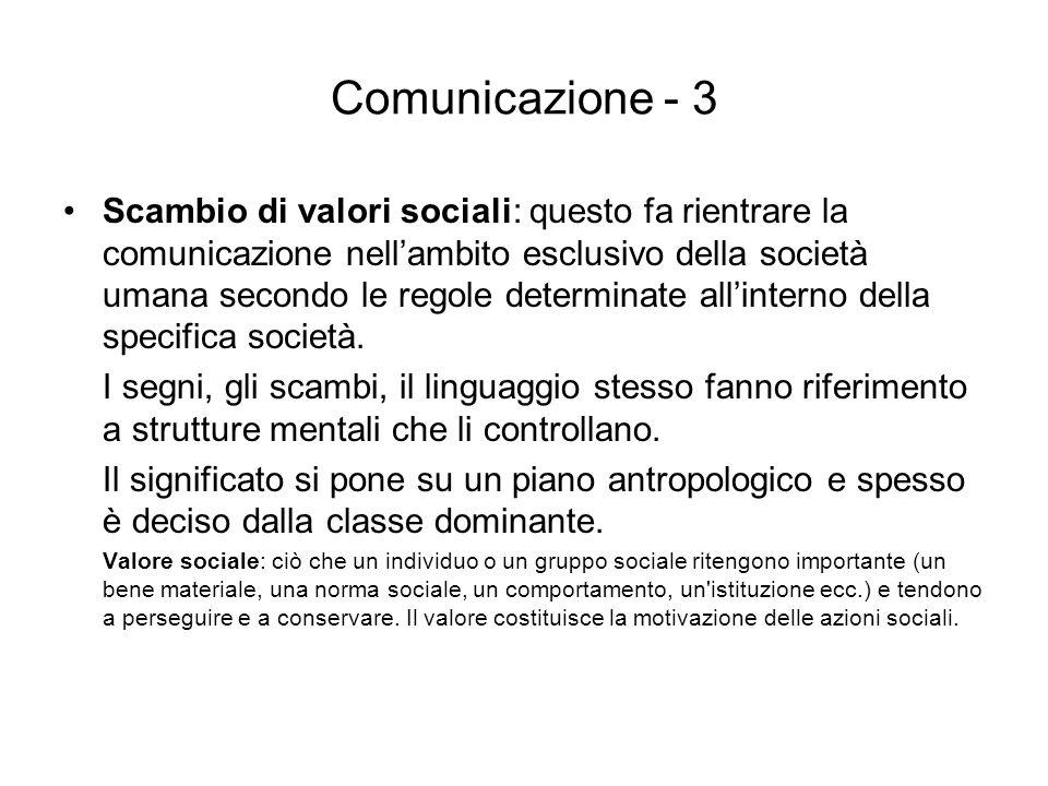 Comunicazione - 3 Scambio di valori sociali: questo fa rientrare la comunicazione nellambito esclusivo della società umana secondo le regole determina