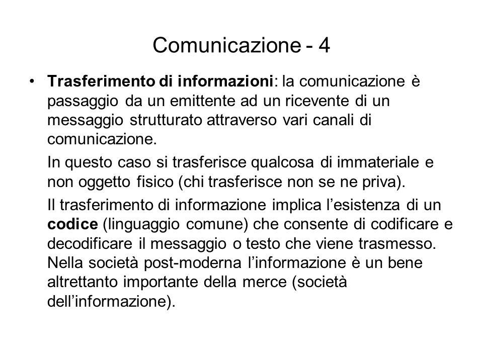 Comunicazione - 4 Trasferimento di informazioni: la comunicazione è passaggio da un emittente ad un ricevente di un messaggio strutturato attraverso v