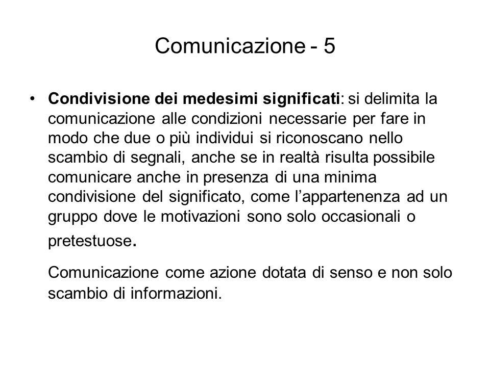 Comunicazione - 5 Condivisione dei medesimi significati: si delimita la comunicazione alle condizioni necessarie per fare in modo che due o più indivi