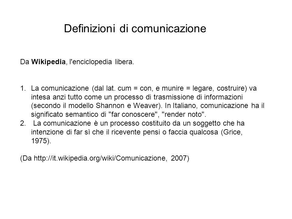 Comunicazione - 6 Relazione sociale: la comunicazione come condizionedellavere in comune elementi di comportamento o modi di vita, grazie allesistenza di insiemi di regole e unità sociale a partire da individui singoli mediante luso di un linguaggio e di segni.