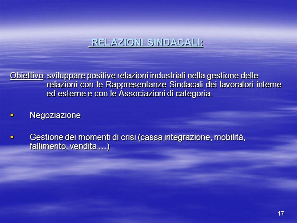 17 RELAZIONI SINDACALI: RELAZIONI SINDACALI: Obiettivo: sviluppare positive relazioni industriali nella gestione delle relazioni con le Rappresentanze