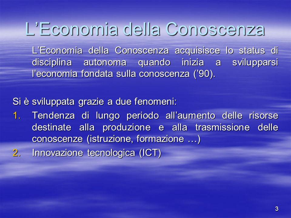 3 LEconomia della Conoscenza LEconomia della Conoscenza acquisisce lo status di disciplina autonoma quando inizia a svilupparsi leconomia fondata sull