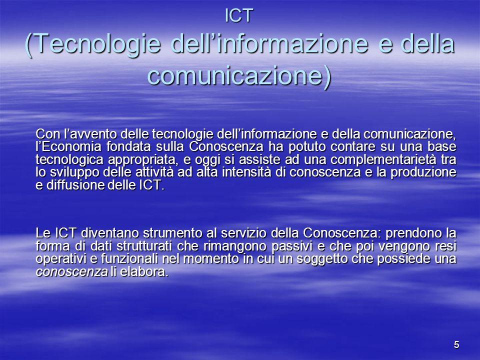 5 ICT (Tecnologie dellinformazione e della comunicazione) Con lavvento delle tecnologie dellinformazione e della comunicazione, lEconomia fondata sull