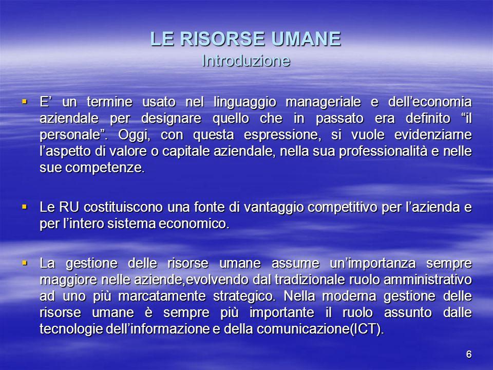 6 LE RISORSE UMANE Introduzione E un termine usato nel linguaggio manageriale e delleconomia aziendale per designare quello che in passato era definit