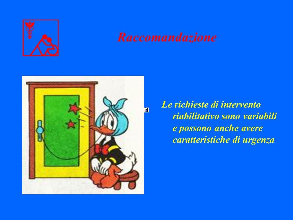 Raccomandazione Le richieste di intervento riabilitativo sono variabili e possono anche avere caratteristiche di urgenza
