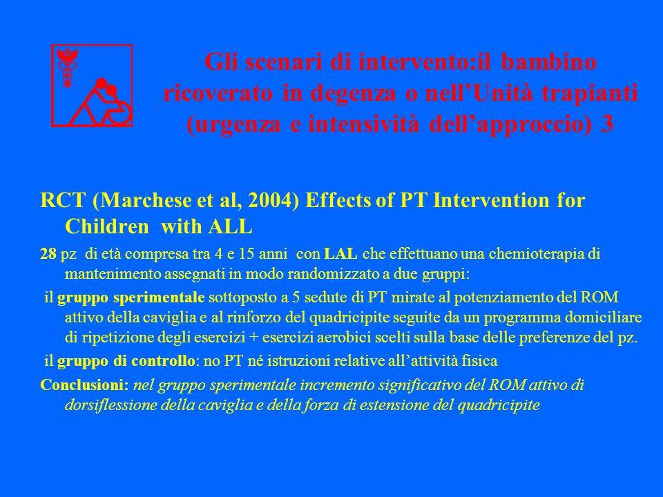 RCT (Marchese et al, 2004) Effects of PT Intervention for Children with ALL 28 pz di età compresa tra 4 e 15 anni con LAL che effettuano una chemioter