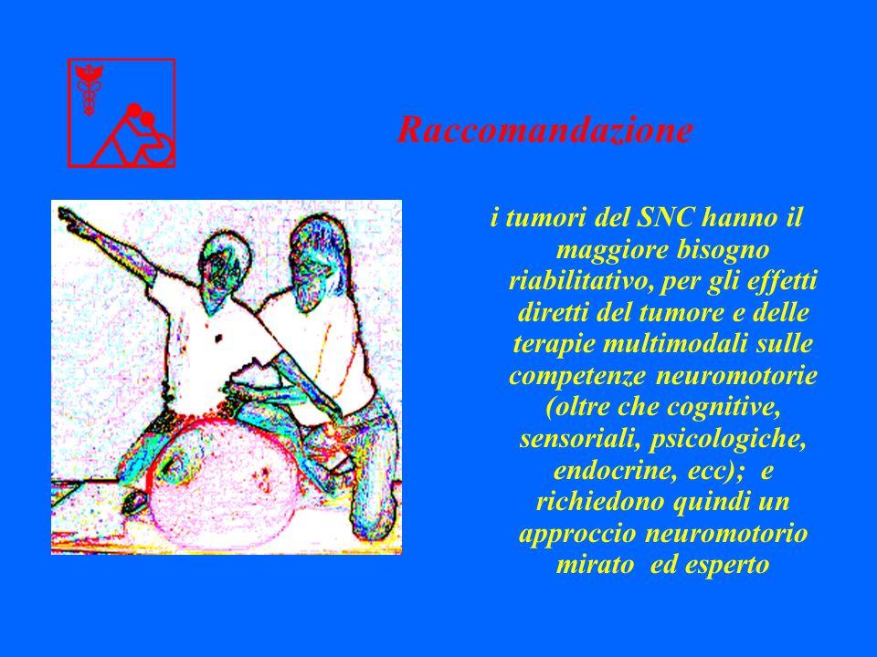 i tumori del SNC hanno il maggiore bisogno riabilitativo, per gli effetti diretti del tumore e delle terapie multimodali sulle competenze neuromotorie