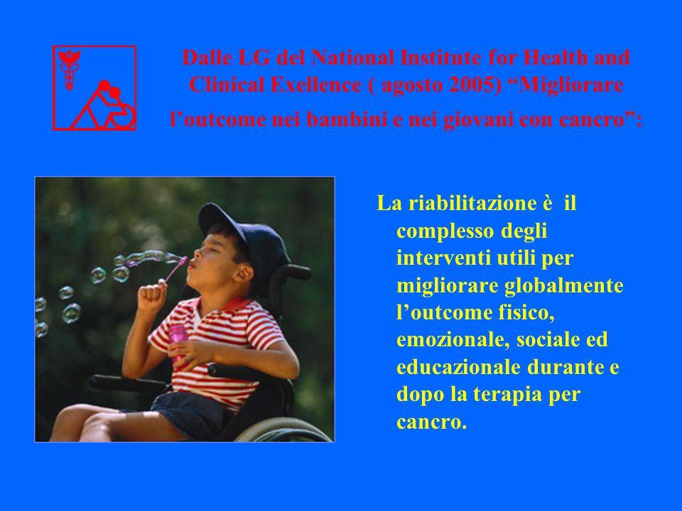 La riabilitazione è il complesso degli interventi utili per migliorare globalmente loutcome fisico, emozionale, sociale ed educazionale durante e dopo