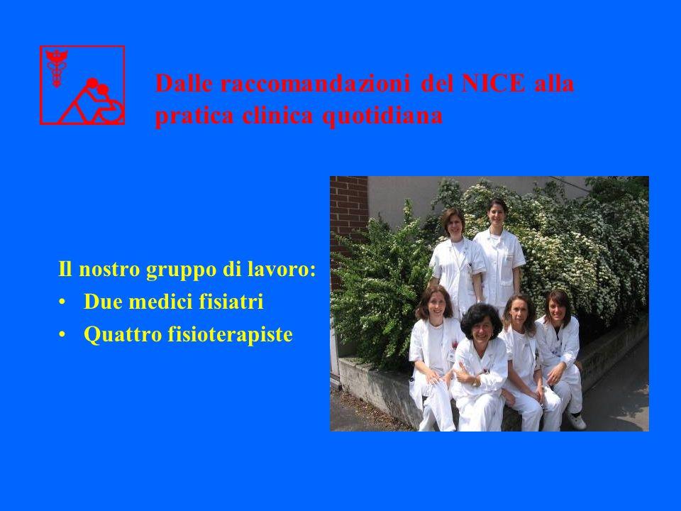 Il nostro gruppo di lavoro: Due medici fisiatri Quattro fisioterapiste Dalle raccomandazioni del NICE alla pratica clinica quotidiana