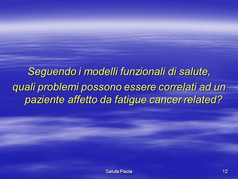 Saluta Paola12 Seguendo i modelli funzionali di salute, quali problemi possono essere correlati ad un paziente affetto da fatigue cancer related?