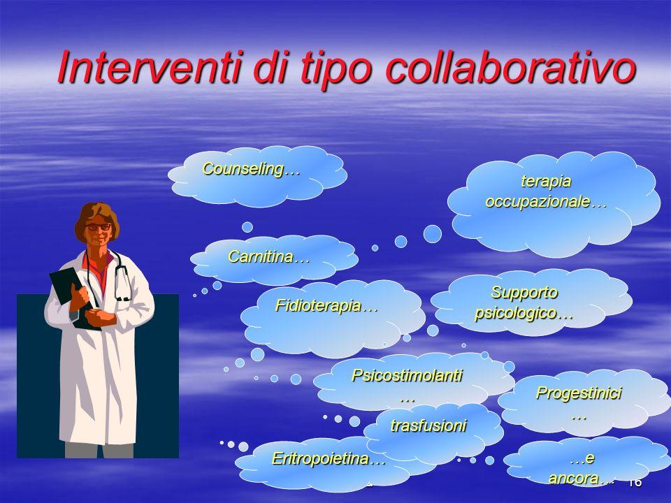 Saluta Paola16 Interventi di tipo collaborativo Counseling… terapia occupazionale… Psicostimolanti … Eritropoietina… trasfusioni Progestinici … Fidiot