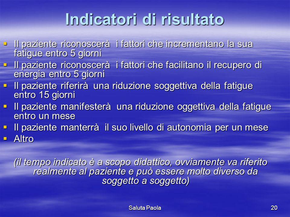 Saluta Paola20 Indicatori di risultato Il paziente riconoscerà i fattori che incrementano la sua fatigue entro 5 giorni Il paziente riconoscerà i fatt