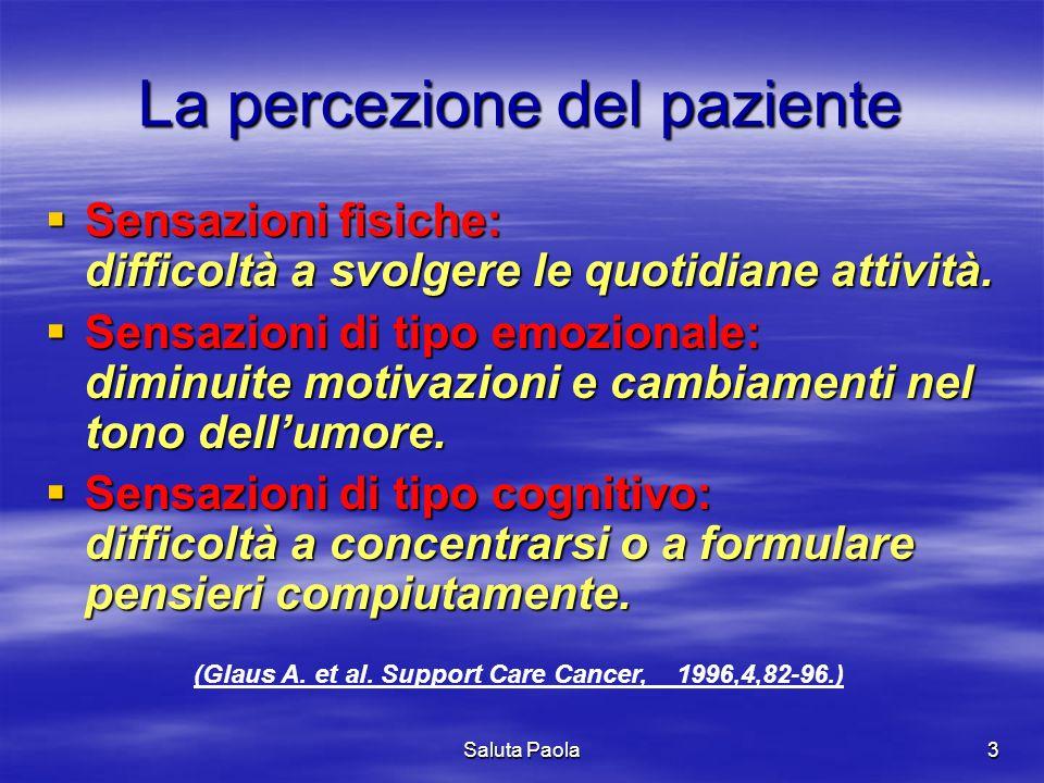 Saluta Paola3 La percezione del paziente Sensazioni fisiche: difficoltà a svolgere le quotidiane attività. Sensazioni fisiche: difficoltà a svolgere l
