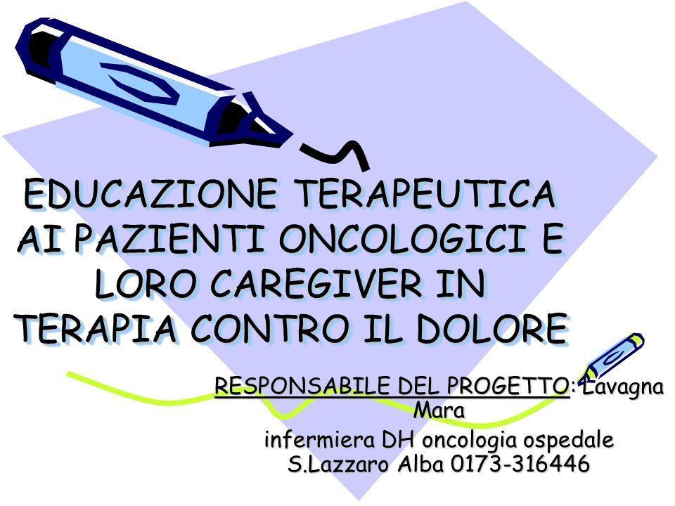 EDUCAZIONE TERAPEUTICA AI PAZIENTI ONCOLOGICI E LORO CAREGIVER IN TERAPIA CONTRO IL DOLORE RESPONSABILE DEL PROGETTO: Lavagna Mara infermiera DH oncologia ospedale S.Lazzaro Alba 0173-316446