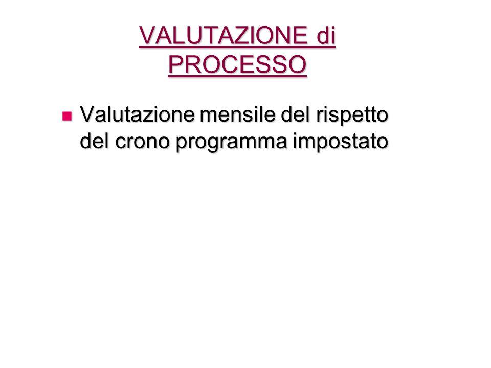 VALUTAZIONE di PROCESSO Valutazione mensile del rispetto del crono programma impostato Valutazione mensile del rispetto del crono programma impostato
