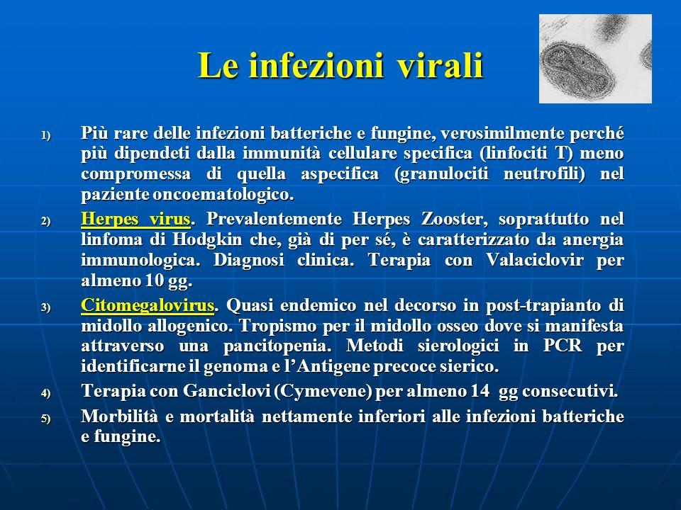 Le infezioni virali 1) Più rare delle infezioni batteriche e fungine, verosimilmente perché più dipendeti dalla immunità cellulare specifica (linfocit